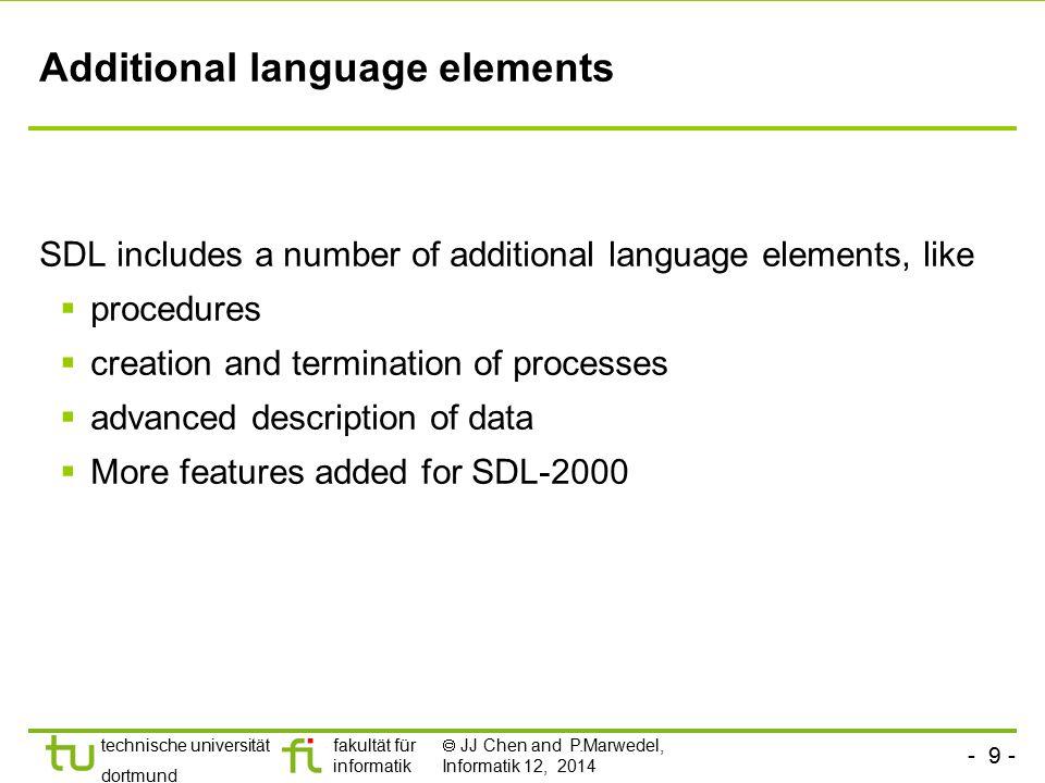 - 9 - technische universität dortmund fakultät für informatik  JJ Chen and P.Marwedel, Informatik 12, 2014 Additional language elements SDL includes