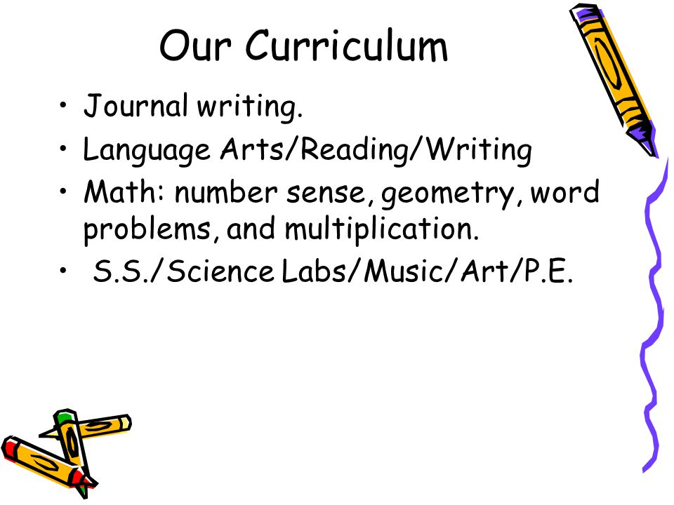 Our Curriculum Journal writing.