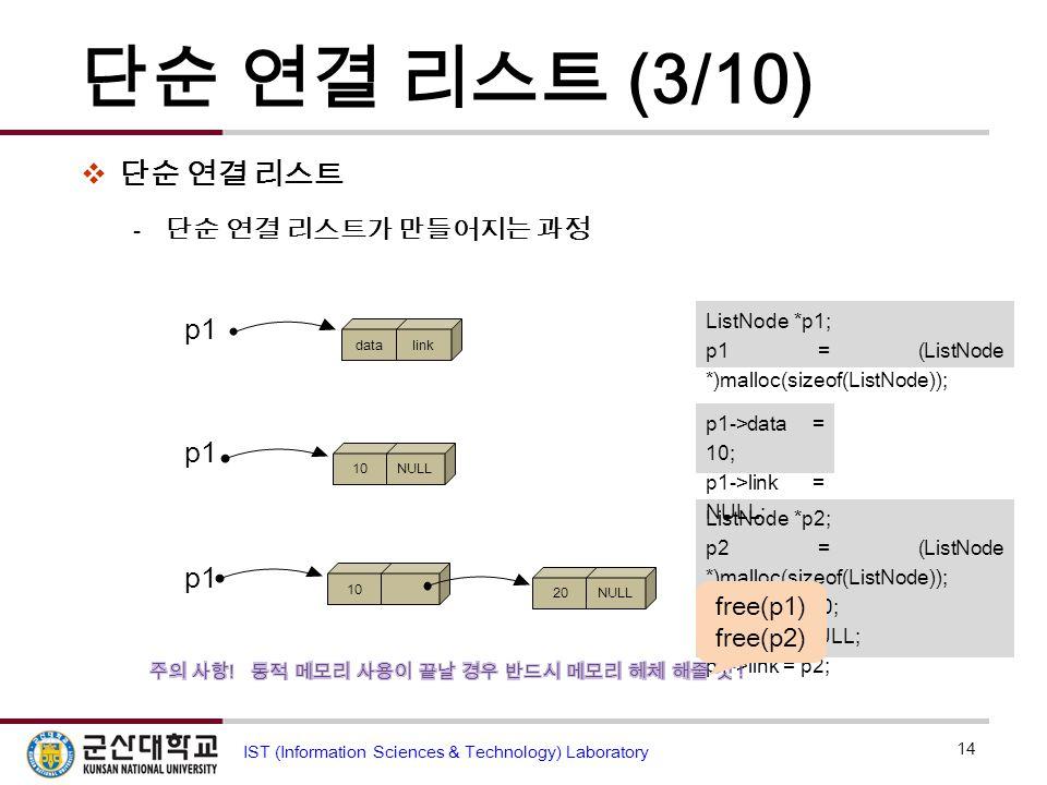 단순 연결 리스트 (3/10)  단순 연결 리스트  단순 연결 리스트가 만들어지는 과정 14 IST (Information Sciences & Technology) Laboratory p1 datalink p1 10NULL ListNode *p2; p2 = (Lis