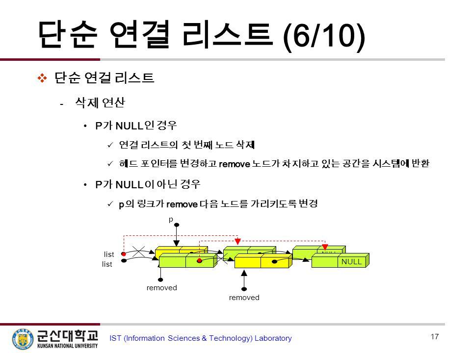 단순 연결 리스트 (6/10)  단순 연걸 리스트  삭제 연산 P 가 NULL 인 경우 연결 리스트의 첫 번째 노드 삭제 헤드 포인터를 변경하고 remove 노드가 차지하고 있는 공간을 시스템에 반환 P 가 NULL 이 아닌 경우 p 의 링크가 remove 다음 노