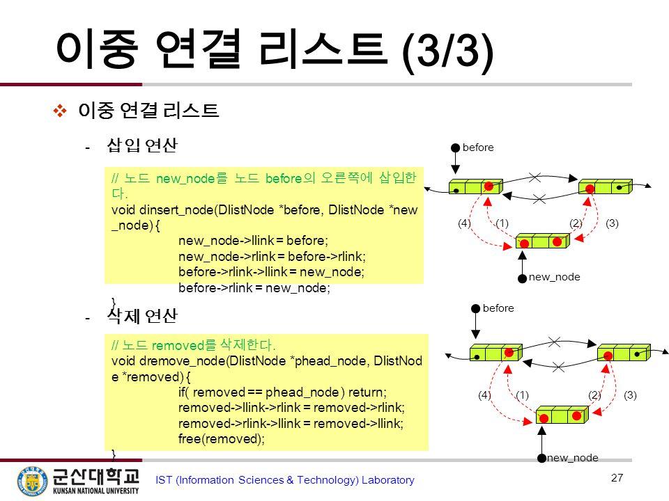 이중 연결 리스트 (3/3)  이중 연결 리스트  삽입 연산  삭제 연산 27 IST (Information Sciences & Technology) Laboratory (1)(2)(3)(4) before new_node // 노드 new_node 를 노드 bef