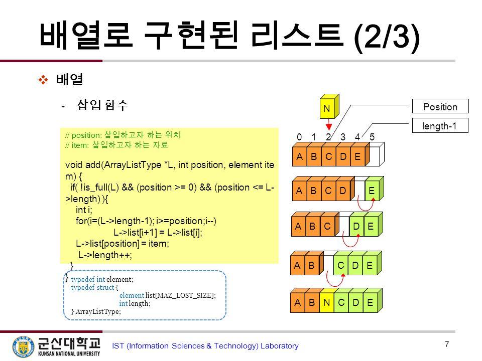 배열로 구현된 리스트 (2/3)  배열  삽입 함수 7 IST (Information Sciences & Technology) Laboratory // position: 삽입하고자 하는 위치 // item: 삽입하고자 하는 자료 void add(ArrayListTy