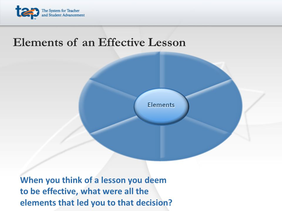 When you think of a lesson you deem to be effective, what were all the elements that led you to that decision.