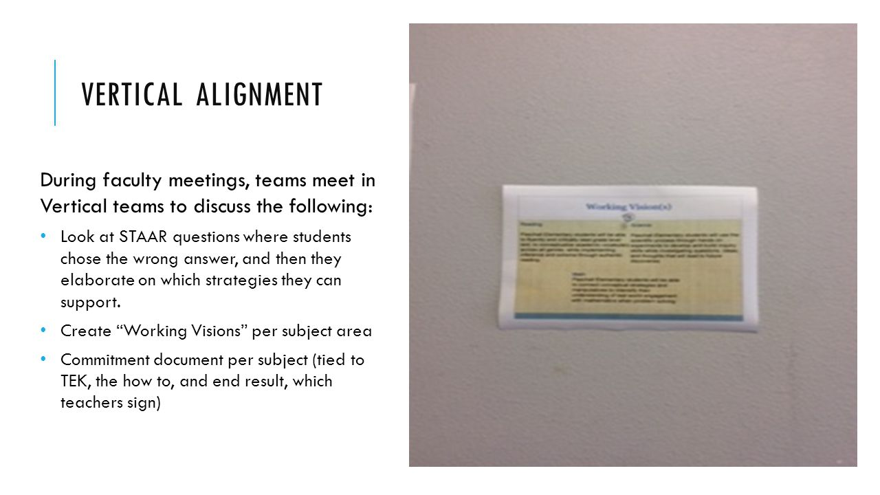 VERTICAL ALIGNMENT During faculty meetings, teams meet in Vertical teams to discuss the following: Look at STAAR questions where students chose the wr