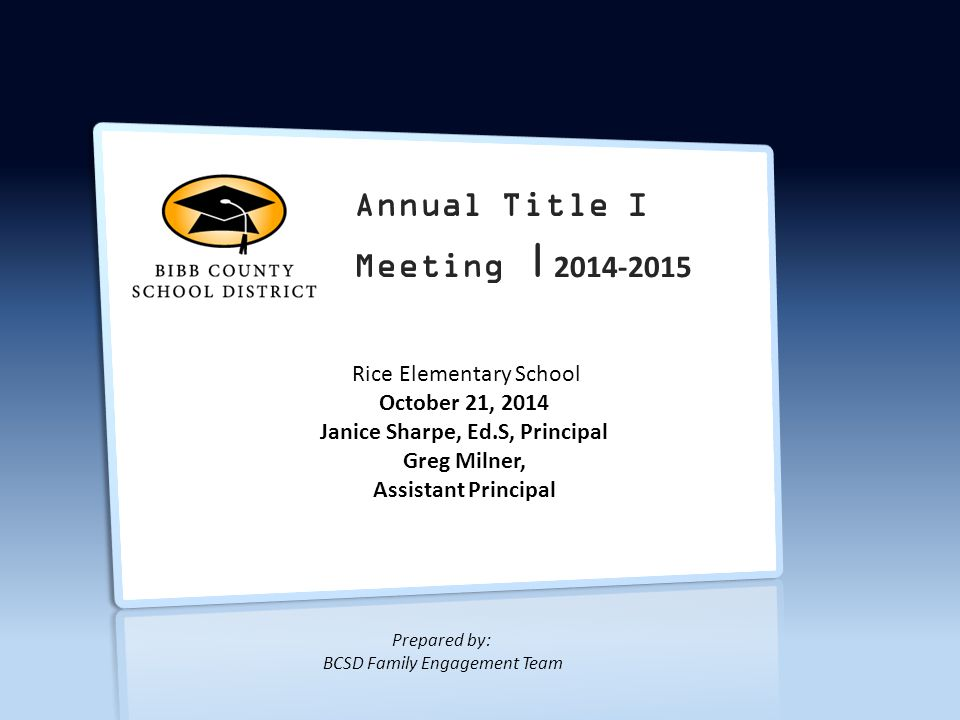Title I Annual Meeting | 2014-2015 1.What is Title I.