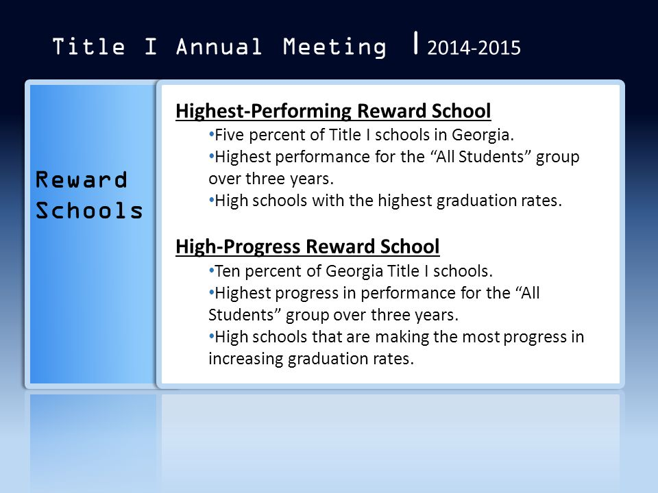 """Reward Schools Highest-Performing Reward School Five percent of Title I schools in Georgia. Highest performance for the """"All Students"""" group over thre"""