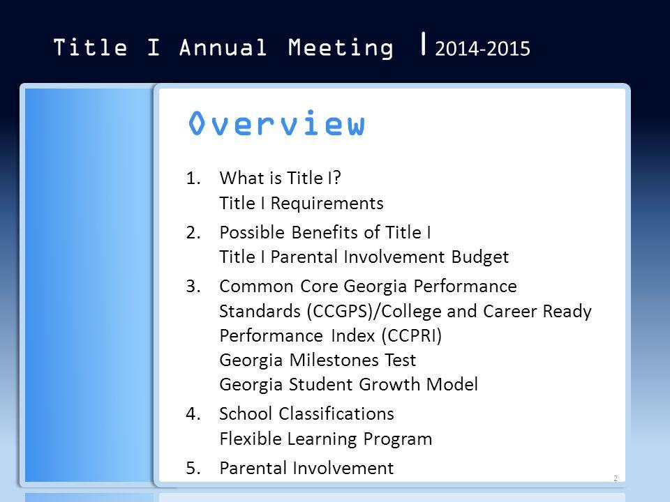 Section 2 Section 3 Section 1 Section 4 Title I Annual Meeting | 2014-2015 Parental Involvement Section 5