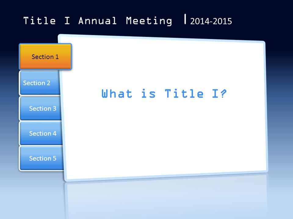 Section 3 Section 4 Section 2 Section 5 Title I Annual Meeting | 2014-2015 What is Title I.