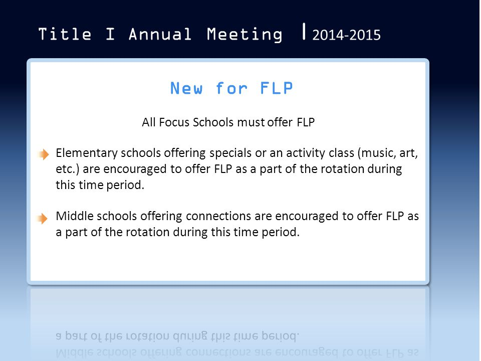 Title I Annual Meeting | 2014-2015 New for FLP
