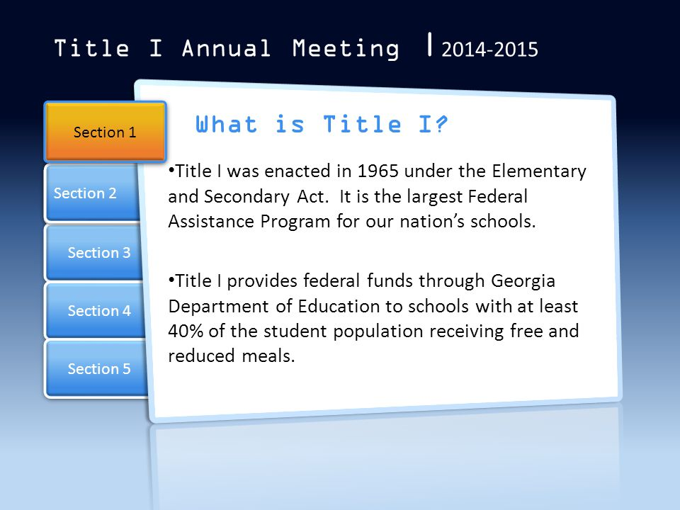 Title I Annual Meeting | 2014-2015 Parental Involvement Develop a relationship with your child's teacher.