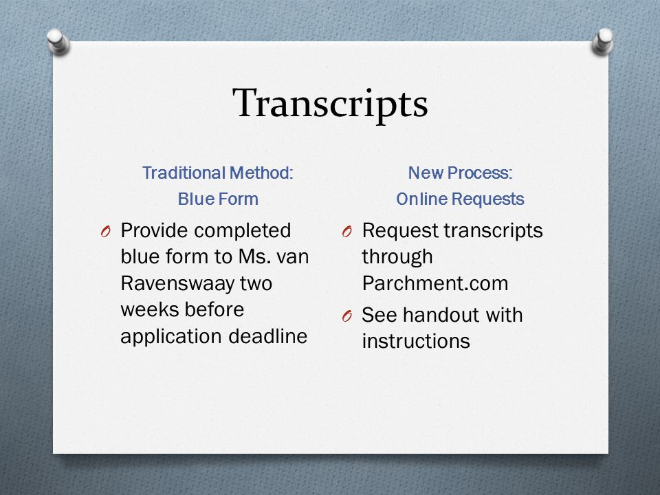 Transcripts Traditional Method: Blue Form New Process: Online Requests O Provide completed blue form to Ms. van Ravenswaay two weeks before applicatio