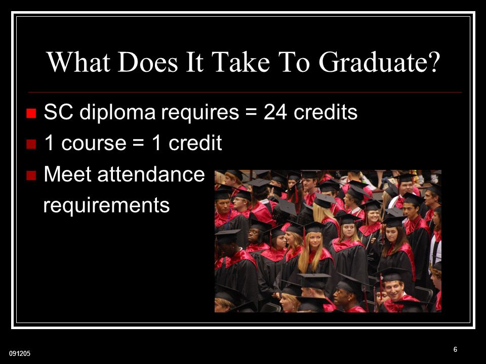 091205 6 SC diploma requires = 24 credits 1 course = 1 credit Meet attendance requirements What Does It Take To Graduate?
