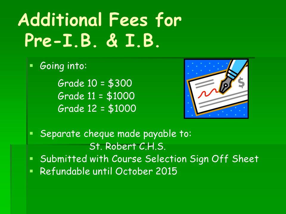 Additional Fees for Pre-I.B. & I.B.
