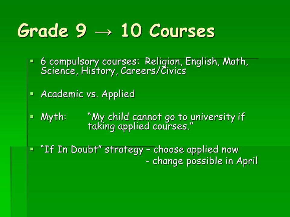Grade 9 → 10 Courses  6 compulsory courses: Religion, English, Math, Science, History, Careers/Civics  Academic vs.