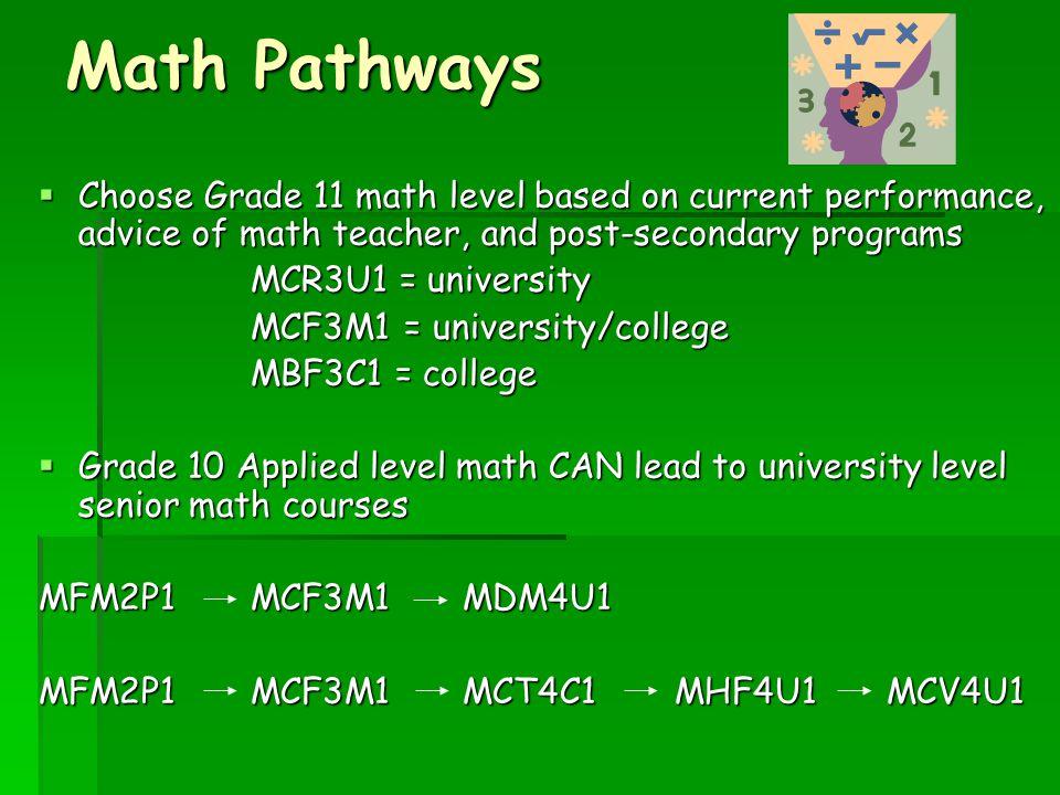 Math Pathways  Choose Grade 11 math level based on current performance, advice of math teacher, and post-secondary programs MCR3U1 = university MCF3M1 = university/college MBF3C1 = college  Grade 10 Applied level math CAN lead to university level senior math courses MFM2P1MCF3M1MDM4U1 MFM2P1MCF3M1MCT4C1MHF4U1MCV4U1