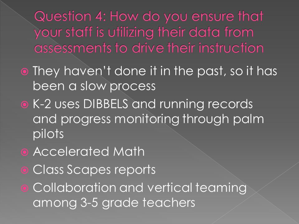  They haven't done it in the past, so it has been a slow process  K-2 uses DIBBELS and running records and progress monitoring through palm pilots  Accelerated Math  Class Scapes reports  Collaboration and vertical teaming among 3-5 grade teachers
