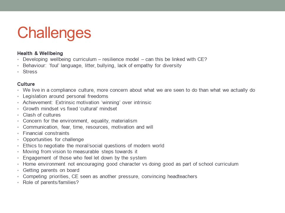 Challenges Health & Wellbeing Developing wellbeing curriculum – resilience model – can this be linked with CE? Behaviour: 'foul' language, litter, bul