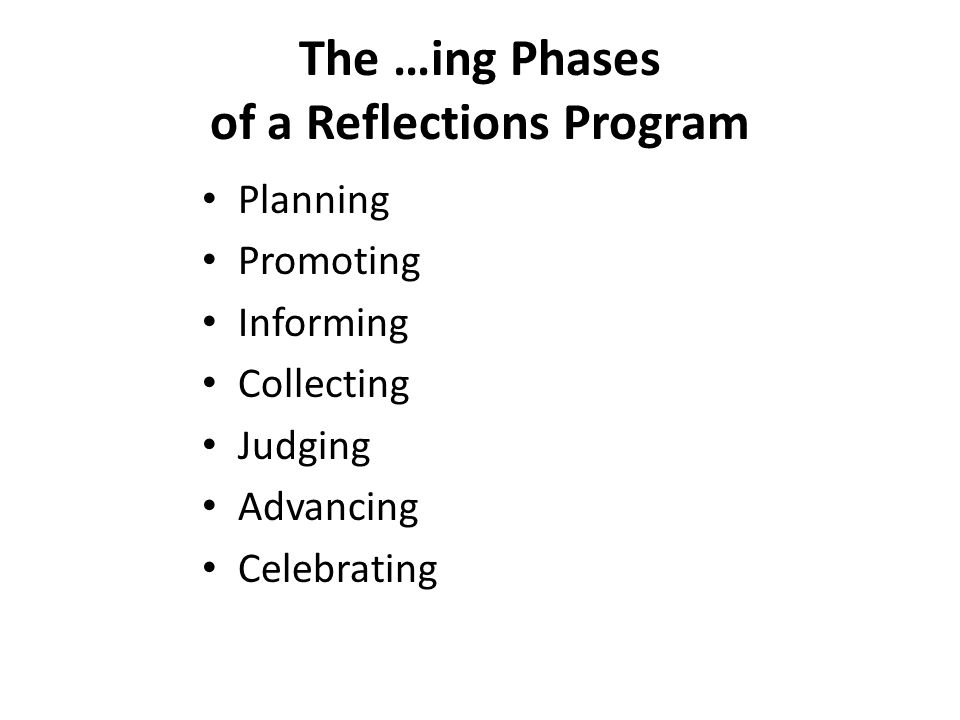 The …ing Phases of a Reflections Program Planning Promoting Informing Collecting Judging Advancing Celebrating