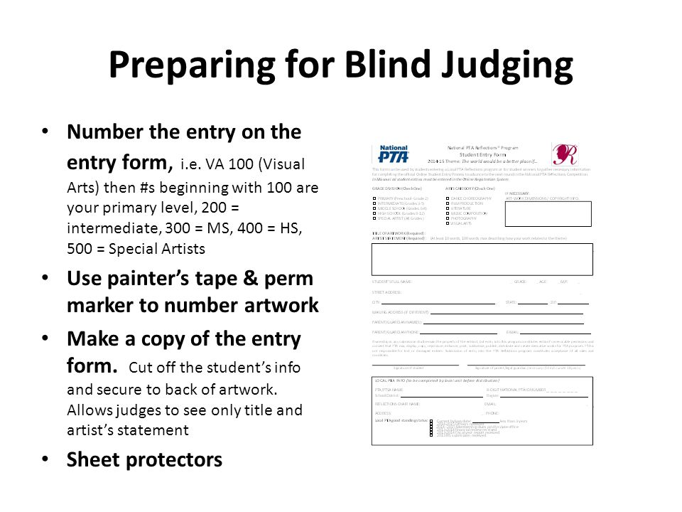 Preparing for Blind Judging Number the entry on the entry form, i.e. VA 100 (Visual Arts) then #s beginning with 100 are your primary level, 200 = int