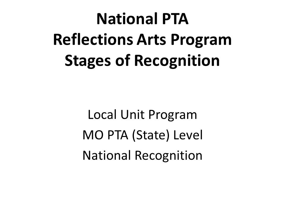 Advancing Phase (in brief) 3 Entries per Division per Art Category Entries are submitted online only to MO PTA Deadline is December 10, 2014 Online submission process covered in Reflections II workshop on Sunday Ethan Clark, National PTA Arts Manager will join us!
