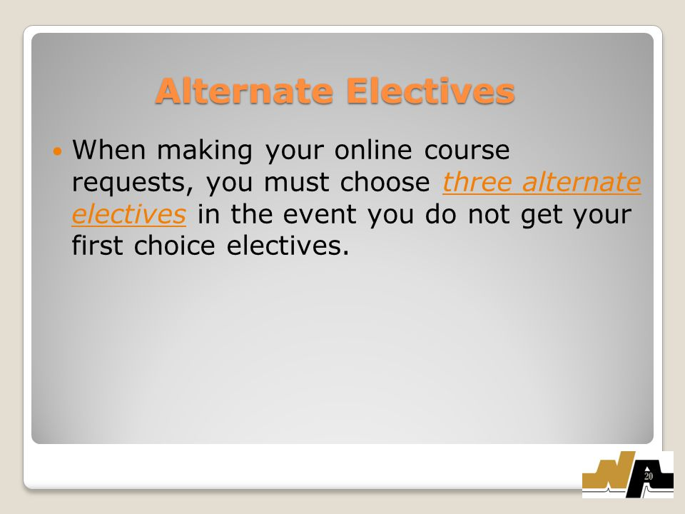 Alternate Electives When making your online course requests, you must choose three alternate electives in the event you do not get your first choice electives.