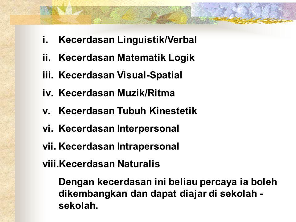 i.Kecerdasan Linguistik/Verbal ii.Kecerdasan Matematik Logik iii.Kecerdasan Visual-Spatial iv.Kecerdasan Muzik/Ritma v.Kecerdasan Tubuh Kinestetik vi.