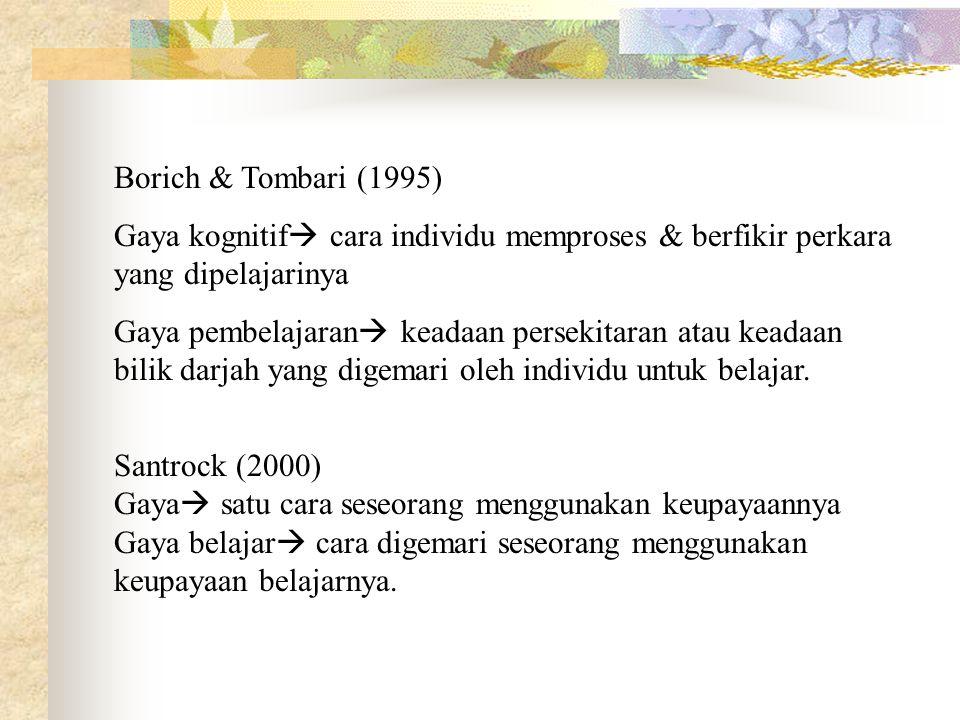 Borich & Tombari (1995) Gaya kognitif  cara individu memproses & berfikir perkara yang dipelajarinya Gaya pembelajaran  keadaan persekitaran atau ke