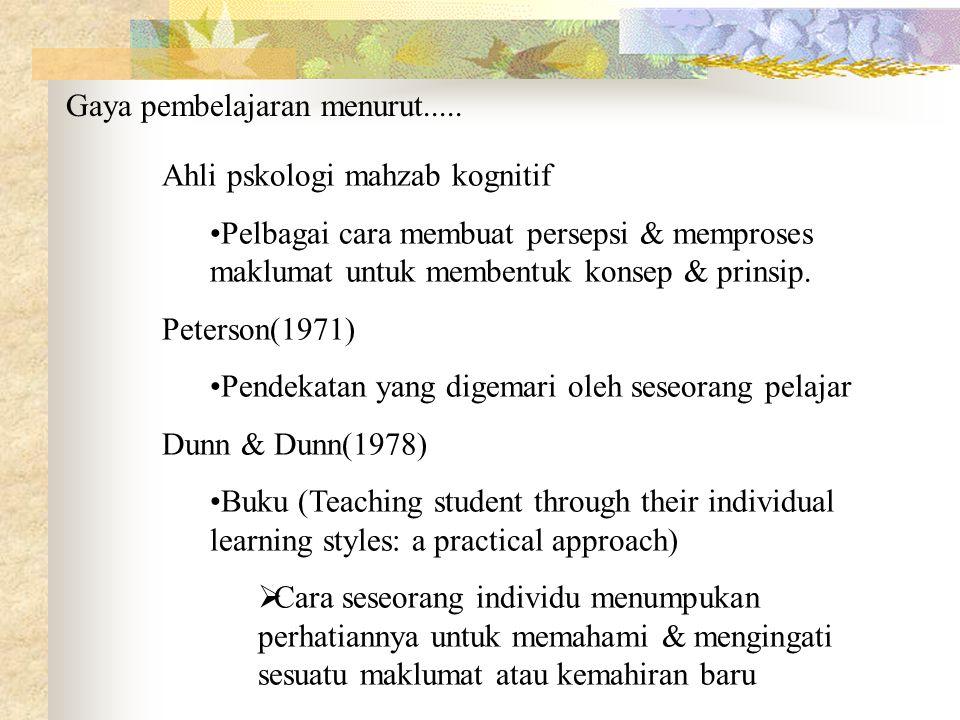 Ahli pskologi mahzab kognitif Pelbagai cara membuat persepsi & memproses maklumat untuk membentuk konsep & prinsip. Peterson(1971) Pendekatan yang dig
