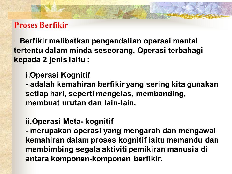 Proses Berfikir · Berfikir melibatkan pengendalian operasi mental tertentu dalam minda seseorang. Operasi terbahagi kepada 2 jenis iaitu : i.Operasi K