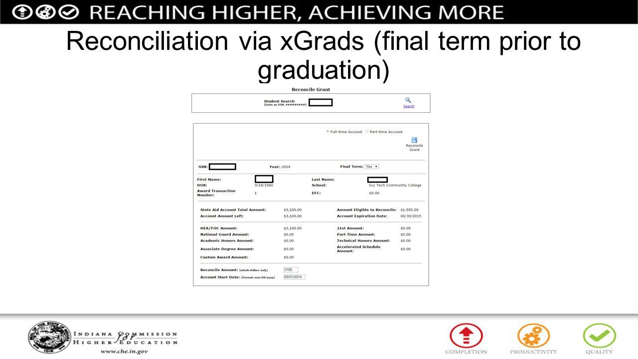 Reconciliation via xGrads (final term prior to graduation)