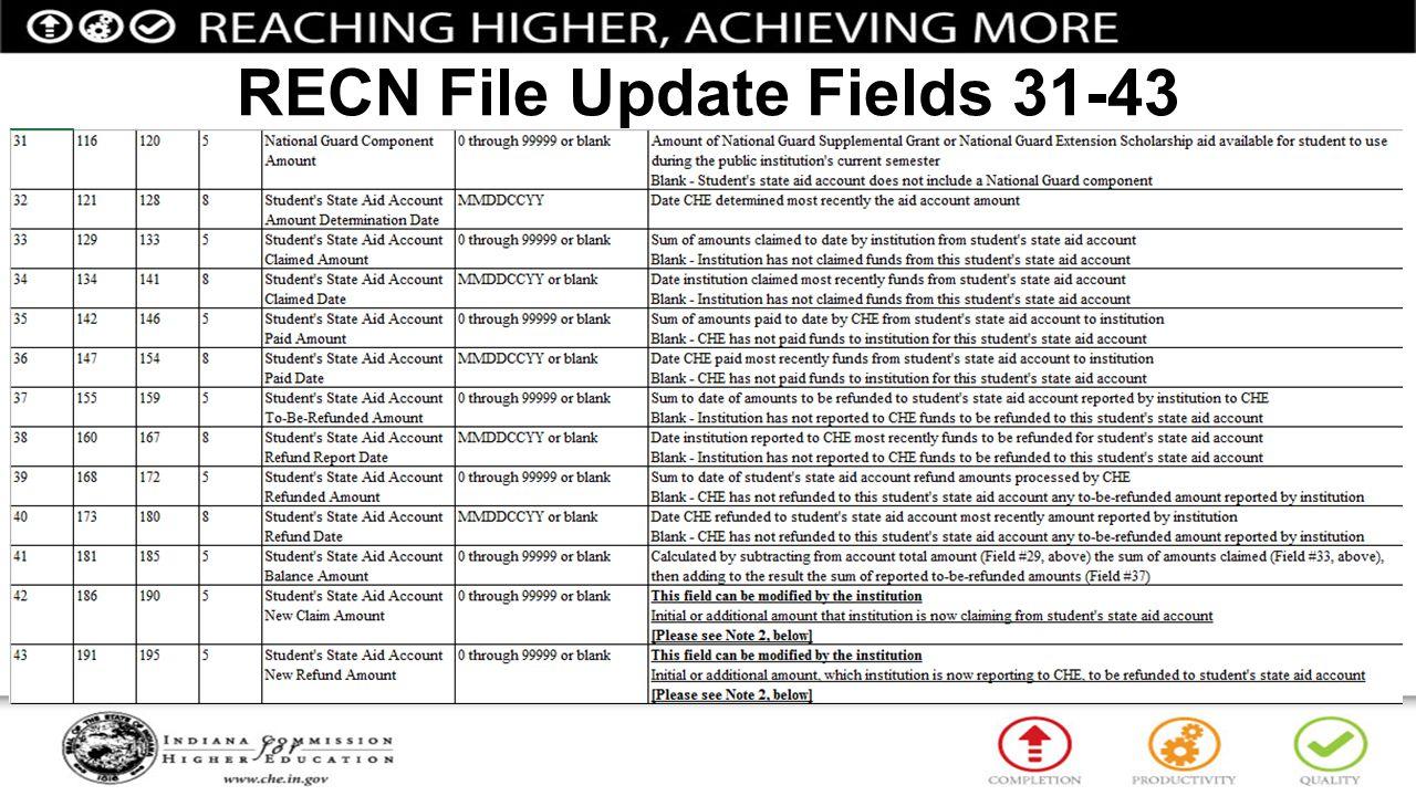 RECN File Update Fields 31-43