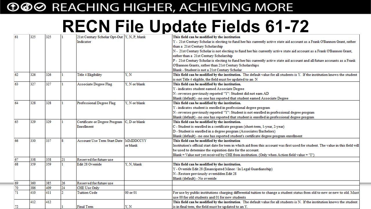 RECN File Update Fields 61-72