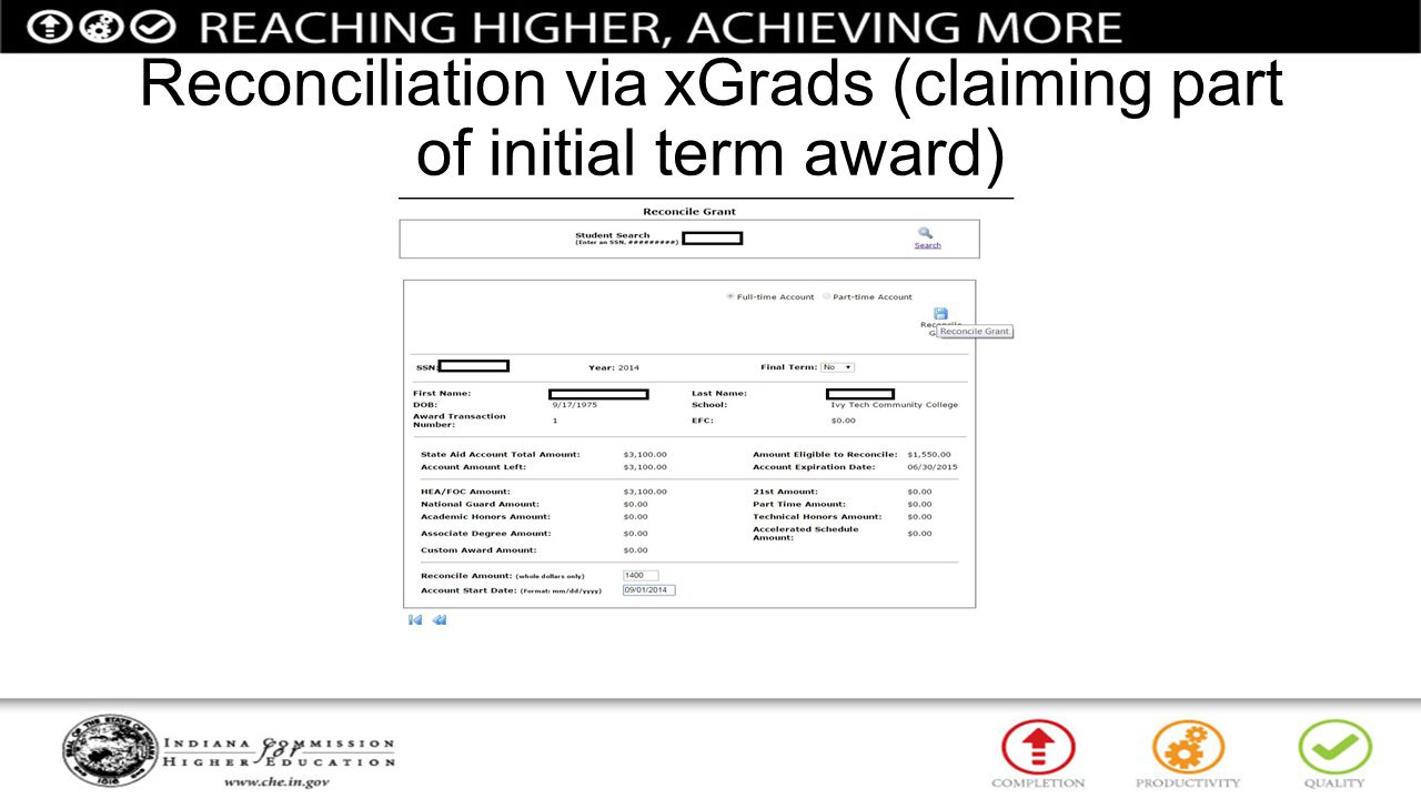 Reconciliation via xGrads (claiming part of initial term award)