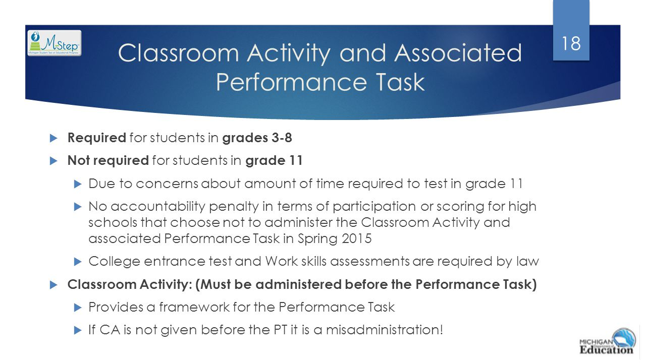 Classroom Activity and Associated Performance Task  Required for students in grades 3-8  Not required for students in grade 11  Due to concerns abo