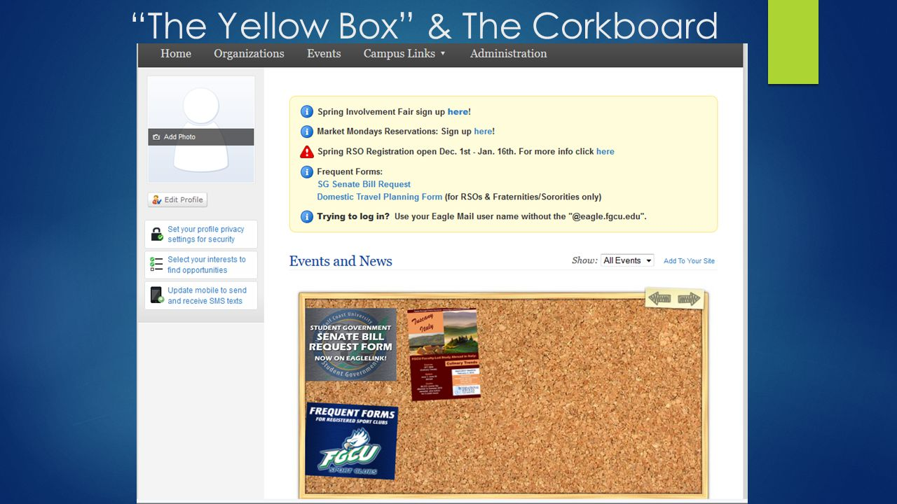 The Yellow Box & The Corkboard