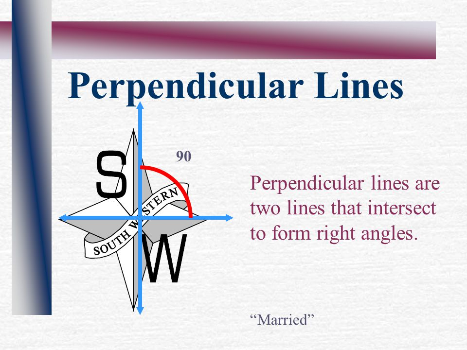 Perpendicular Lines Perpendicular lines are two lines that intersect to form right angles.