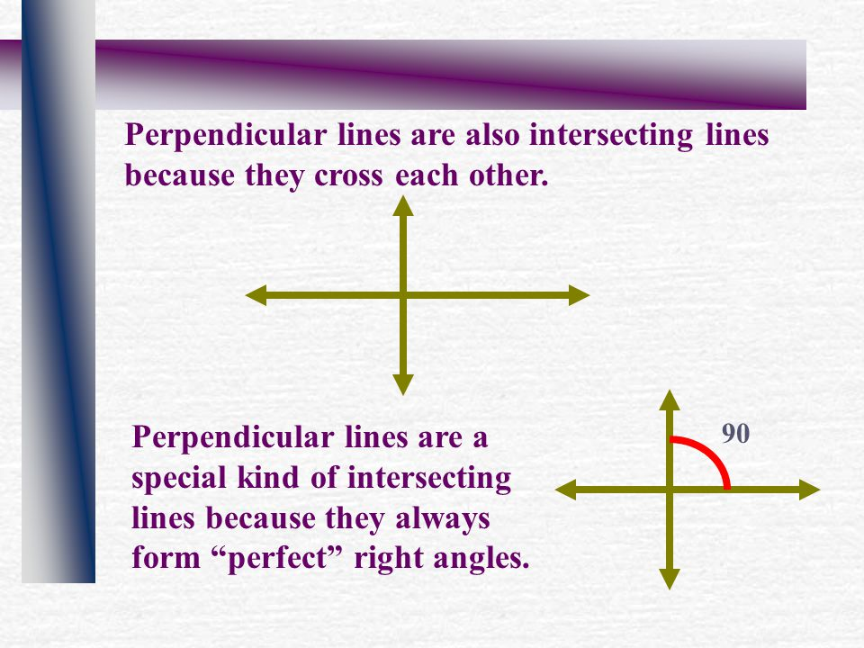 Perpendicular lines are also intersecting lines because they cross each other.