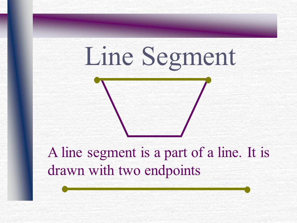 Line Segment A line segment is a part of a line. It is drawn with two endpoints