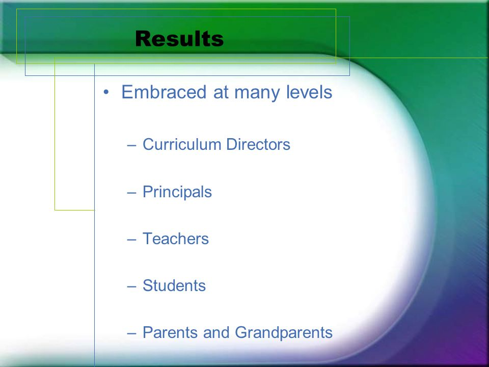 Results Embraced at many levels –Curriculum Directors –Principals –Teachers –Students –Parents and Grandparents