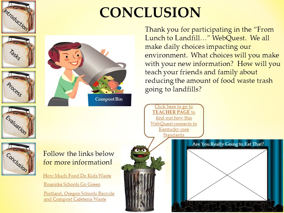 Introduction Tasks Process Evaluation Conclusion CONCLUSION Thank you for participating in the From Lunch to Landfill… WebQuest.
