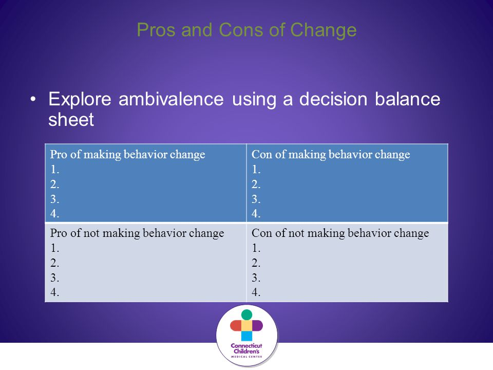Pros and Cons of Change Explore ambivalence using a decision balance sheet Pro of making behavior change 1. 2. 3. 4. Con of making behavior change 1.