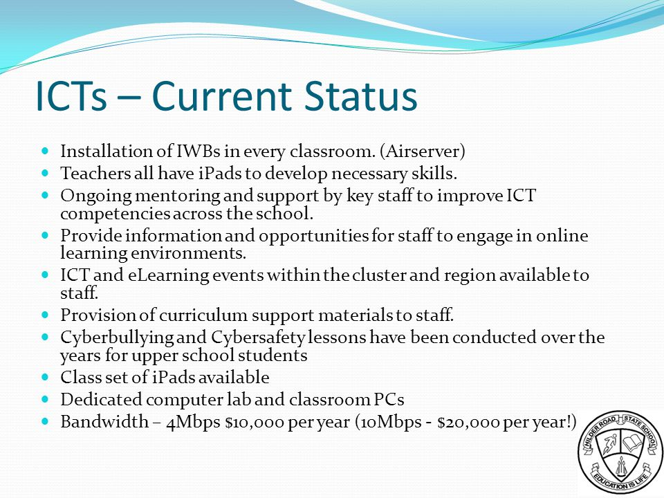 ICTs – Current Status Installation of IWBs in every classroom.