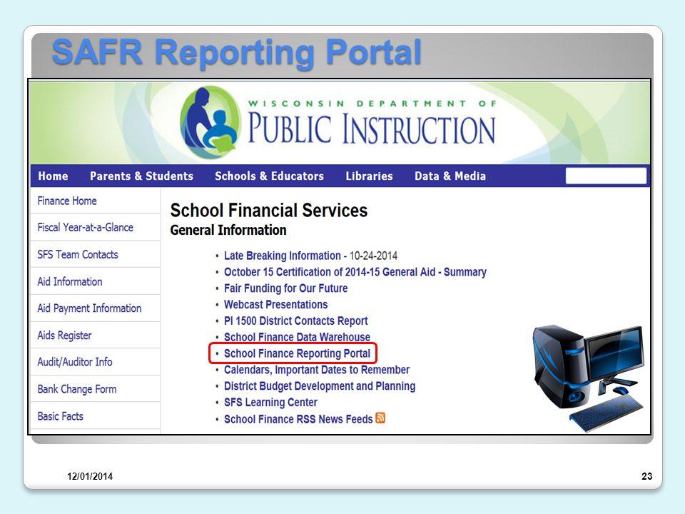 SAFR Reporting Portal 24 12/01/2014