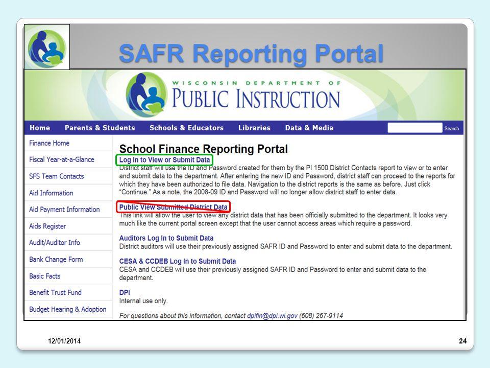 SAFR Reporting Portal 25 12/01/2014