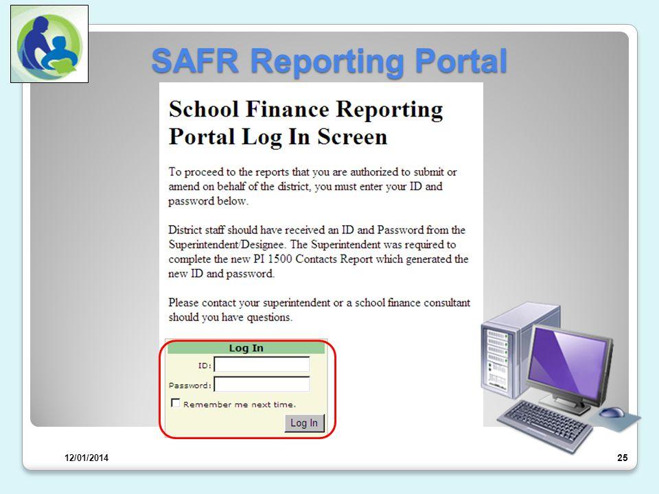 SAFR Reporting Portal 26 OR 12/01/2014