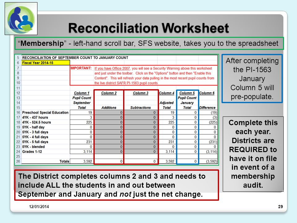 Reconciliation Worksheet 29 Complete this each year.