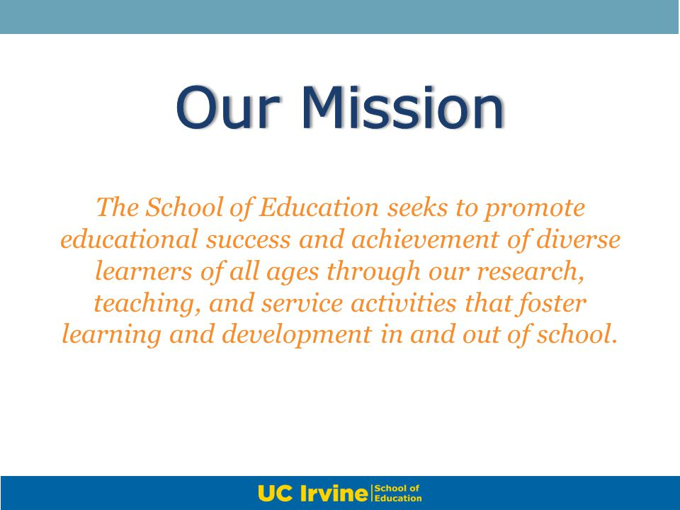 The School of Education seeks to promote educational success and achievement of diverse learners of all ages through our research, teaching, and servi
