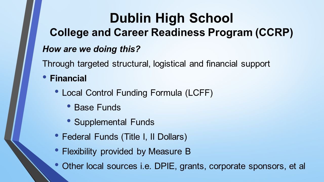 Dublin High School College and Career Readiness Program (CCRP) How are we doing this.