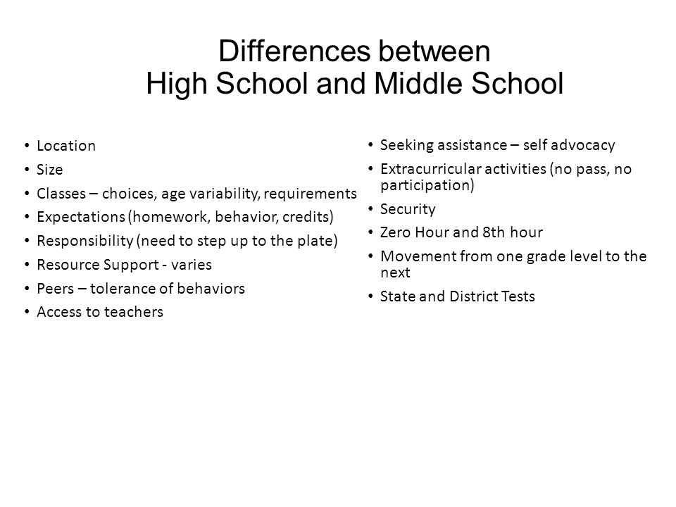 Differences between High School and Middle School Location Size Classes – choices, age variability, requirements Expectations (homework, behavior, credits) Responsibility (need to step up to the plate) Resource Support - varies Peers – tolerance of behaviors Access to teachers Seeking assistance – self advocacy Extracurricular activities (no pass, no participation) Security Zero Hour and 8th hour Movement from one grade level to the next State and District Tests