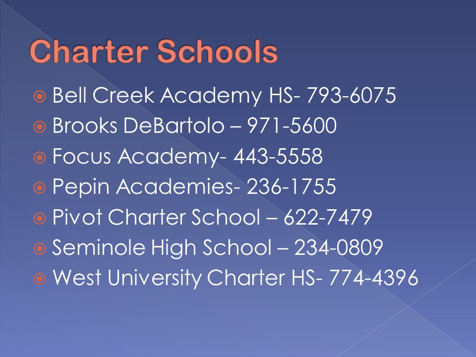  Bell Creek Academy HS- 793-6075  Brooks DeBartolo – 971-5600  Focus Academy- 443-5558  Pepin Academies- 236-1755  Pivot Charter School – 622-7479  Seminole High School – 234-0809  West University Charter HS- 774-4396